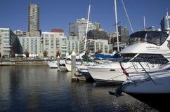 Boatyard på Seattle strand Arkivbilder