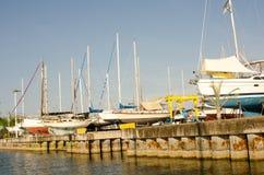 Boatyard in San-blas, Mexico royalty-vrije stock foto
