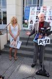 Bob Barker, Pamela Anderson. Pamela Anderson, Bob Barker  at the PETA Goes Postal Postage Stamp Unveiling, Hollywood Post Office, Hollywood, CA 11-29-11 Royalty Free Stock Photography
