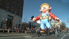 Bob the Builder balloon at parade stock video