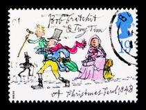 Bob Cratchit en Uiterst kleine Tim, Kerstmis 1993 - Anniv van Publicatie van ` Kerstmis Carol ` serie, circa 1993 stock afbeelding