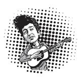 Bob Dylan Cartoon Playing Guitar Historieta blanco y negro en el estallido Art Background Vector libre illustration