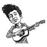 Bob Dylan Cartoon Playing Guitar. Vector Illustration Stock Photography