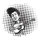 Bob Dylan Cartoon Playing Guitar Zwart-wit Beeldverhaal in Pop Art Background Vector royalty-vrije illustratie