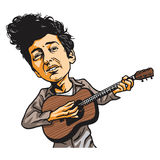 Bob Dylan Cartoon Vector Illustration. Portrait Stock Photography