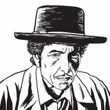 Bob Dylan Hand Drawn Drawing Portrait, Caricature Vector. Illustration Royalty Free Stock Photo