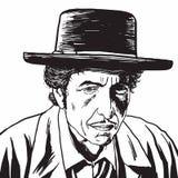 Bob Dylan Hand Drawn Drawing Portrait, vector de la caricatura ilustración del vector