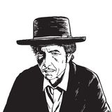 Bob Dylan Hand Drawn Drawing Vector Portrait. Illustration Royalty Free Stock Image
