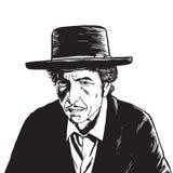 Bob Dylan Hand Drawn Drawing Vector stående Royaltyfri Bild
