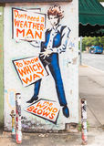 Bob Dylan Mural. AUSTIN, TX/USA - APRIL 11, 2015: Mural depicts Bob Dylan's lyrics: Don't need a weatherman to know which way the wind blows from the song Stock Photos