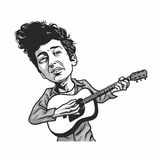 Bob Dylan Playing Guitar Cartoon Caricature Stockfoto
