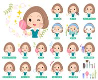 Bob hair green dress women_beauty stock illustration