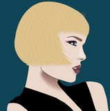Bob hair. Profile blond woman with bob Stock Photo
