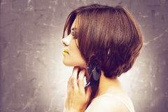 Bob haircut. profile view. beauty face . short hair stock images