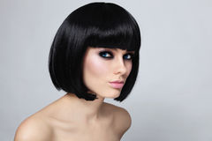Bob haircut. Young beautiful sexy woman with stylish bob haircut and smoky eyes Royalty Free Stock Photos