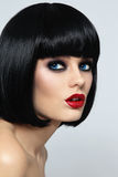 Bob haircut. Young beautiful sexy woman with stylish bob haircut and smoky eyes Stock Photography