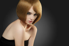 Bob hairstyle. Beautiful Woman with Bob hairstyle. High quality image Stock Image