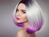 Free Bob Hairstyle. Colored Ombre Hair Extensions. Beauty Model Girl Royalty Free Stock Images - 110394559