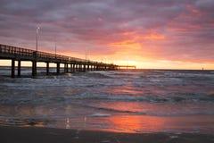Bob Hall Pier, Padre Balli Park, Corpus Christi, Texas. Surprise of a sunrise at the pier royalty free stock images