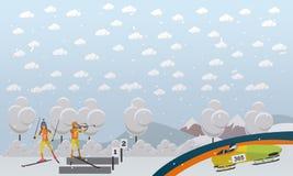 Bob, illustrazione di vettore di concetto di biathlon nello stile piano Immagini Stock
