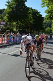 Bob Jungels the winner of the 15th stage of Giro d`Italia with pursuers near arrival in Bergamo stage in the 100th edition of Giro Royalty Free Stock Images