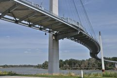 Bob Kerrey Bridge. Bob Kerrey Pedestrian Bridge across the Missouri River between Omaha, Nebraska anc Council Bluffs, Iowa Stock Photography
