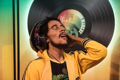 Bob Marley, γλυπτό κεριών, η κυρία Tussaud στοκ φωτογραφία