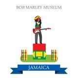 Bob Marley Museum in Jamaica vector flat attraction landmarks Royalty Free Stock Photos