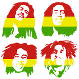 Bob Marley portrait. Bob Marley. Graffiti portrait of Bob Marley set. Illustrative editorial drawing famous Jamaican reggae singer, songwriter and guitarist Bob Stock Photography