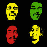 Bob Marley portrait. Bob Marley. Graffiti portrait of Bob Marley set. Illustrative editorial drawing famous Jamaican reggae singer, songwriter and guitarist Bob Royalty Free Stock Photo