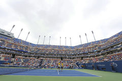 Bob and Mike Bryan at Arthur Ashe Stadium during US Open third round doubles match at Billie Jean King National Tennis Center Royalty Free Stock Image
