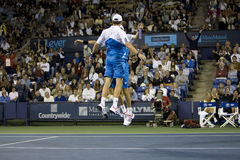 Bob and Mike Bryan Chest Bump at the Los Angeles T Stock Photo