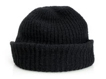 Bob's black knit cap. Plain black knit cap isolated on a white background Royalty Free Stock Photo