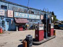 Bob`s Garage a fictional TV auto-shop featured in Schitt`s Creek. Goodwood, Ontario, Canada, June 11, 2018:  Bob`s Garage a fictional TV auto-shop featured in Stock Images
