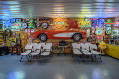 Bob's Gasoline Alley  on historic route 66 in Missouri. CUBA, MISSOURI, USA - MAY 11, 2016 : Interior of Bob's Gasoline Alley on historic Route 66. It is is a Stock Image