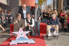 Bob Saget, Garry Marshall, Jack Klugman, John Stamos, Leron Gubler. Leron Gubler, Garry Marshall, John Stamos, Bob Saget and Jack Klugman at the induction stock image