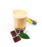 boba泡影巧克力茶 免版税库存图片