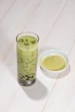 Boba / Bubble tea. Homemade Matcha Milk Tea with Pearls on woode Stock Photography