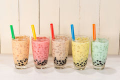 Boba / Bubble tea. Homemade Various Milk Tea with Pearls on wood Royalty Free Stock Photos