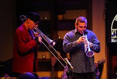 Boba Jazz Band. CRACOW, POLAND - OCTOBER 30, 2015: Boba Jazz Band playing live music at The Cracow Jazz All Souls Day Festival in Jaszczury Club. Cracow. Poland Royalty Free Stock Image