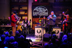 Boba Jazz Band. CRACOW, POLAND - OCTOBER 30, 2015: Boba Jazz Band playing live music at The Cracow Jazz All Souls Day Festival in Jaszczury Club. Cracow. Poland Stock Photos