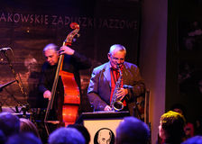 Boba Jazz Band. CRACOW, POLAND - OCTOBER 30, 2015: Boba Jazz Band playing live music at The Cracow Jazz All Souls Day Festival in Jaszczury Club. Cracow. Poland Stock Photo