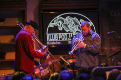 Boba Jazz Band. CRACOW, POLAND - OCTOBER 30, 2015: Boba Jazz Band playing live music at The Cracow Jazz All Souls Day Festival in Jaszczury Club. Cracow. Poland Royalty Free Stock Photos