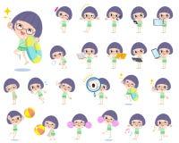 Bobbed Glasses girl green Swimwear style 2 Stock Images