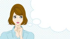 Bobbed hair Women Suspicion,Speech Bubble Stock Photography