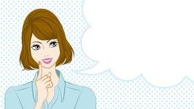 Bobbed Hair women talking, speech bubble Stock Photos