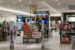 Bobbi Brown cosmetics  shop. VILNIUS, LITHUANIA - DECEMBER 19, 2015: Xmas  Bobbi Brown  cosmetic shop in  Panorama market. In 1991. the ten shades debuted under Stock Photo