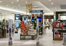 Bobbi Brown cosmetics  shop. VILNIUS, LITHUANIA - DECEMBER 19, 2015: Xmas  Bobbi Brown  cosmetic shop in  Panorama market. In 1991. the ten shades debuted under Royalty Free Stock Images
