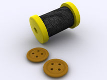 Bobbin and a buttons Stock Images