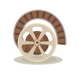 Bobbin with film. Vector illustration of spool with film on the white background Royalty Free Stock Photo